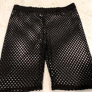 Black Fishnet Swim Coverup Shorts
